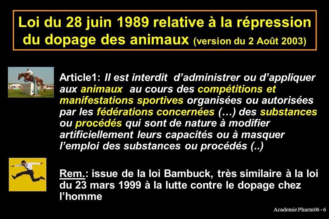 Academie Pharm06 - 6 Loi du 28 juin 1989 relative à la répression du dopage des animaux (version du 2 Août 2003) Article1: Il est interdit dadministrer ou dappliquer aux animaux au cours des compétitions et manifestations sportives organisées ou autorisées par les fédérations concernées (…) des substances ou procédés qui sont de nature à modifier artificiellement leurs capacités ou à masquer lemploi des substances ou procédés (..) Rem.: issue de la loi Bambuck, très similaire à la loi du 23 mars 1999 à la lutte contre le dopage chez lhomme