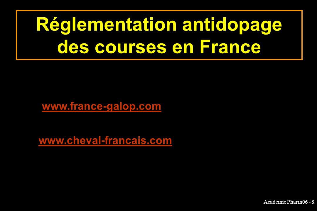 Academie Pharm06 - 8 Réglementation antidopage des courses en France www.france-galop.com www.cheval-francais.com