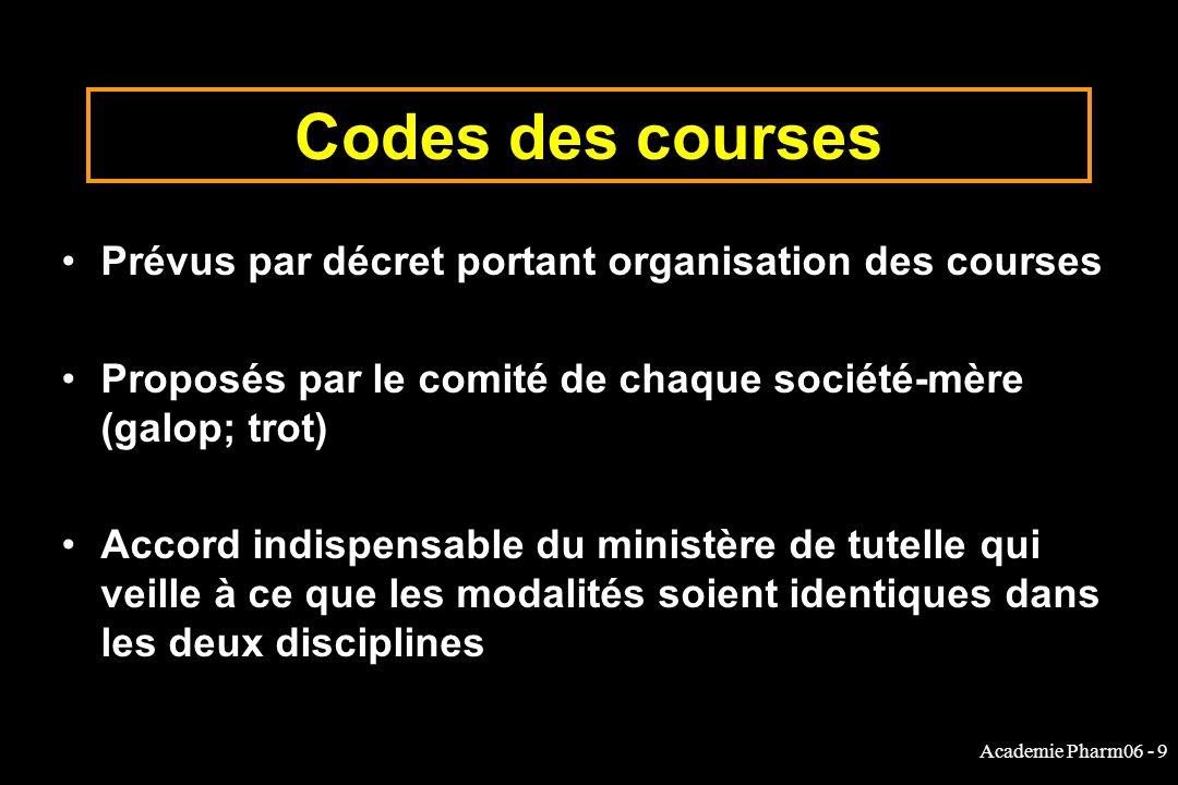 Academie Pharm06 - 9 Codes des courses Prévus par décret portant organisation des courses Proposés par le comité de chaque société-mère (galop; trot)