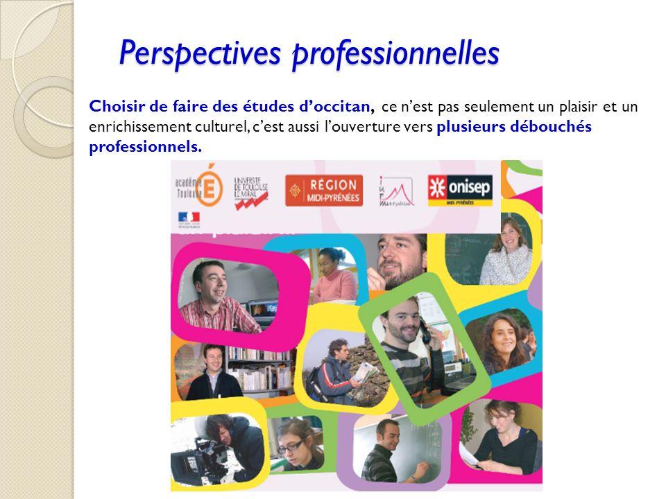 Perspectives professionnelles Choisir de faire des études doccitan, ce nest pas seulement un plaisir et un enrichissement culturel, cest aussi louvert