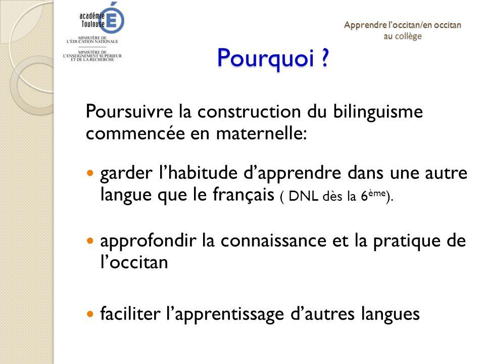 Pourquoi ? Poursuivre la construction du bilinguisme commencée en maternelle: garder lhabitude dapprendre dans une autre langue que le français ( DNL