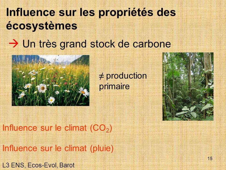 15 Influence sur les propriétés des écosystèmes Un très grand stock de carbone Influence sur le climat (CO 2 ) Influence sur le climat (pluie) product