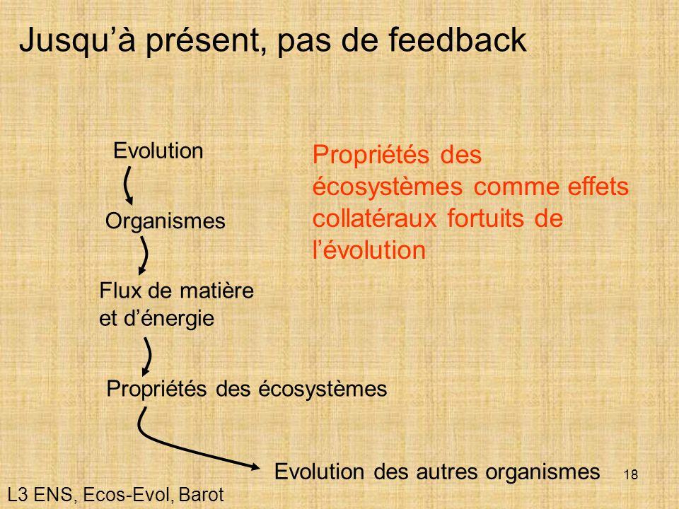 18 Jusquà présent, pas de feedback Organismes Flux de matière et dénergie Evolution Propriétés des écosystèmes comme effets collatéraux fortuits de lé