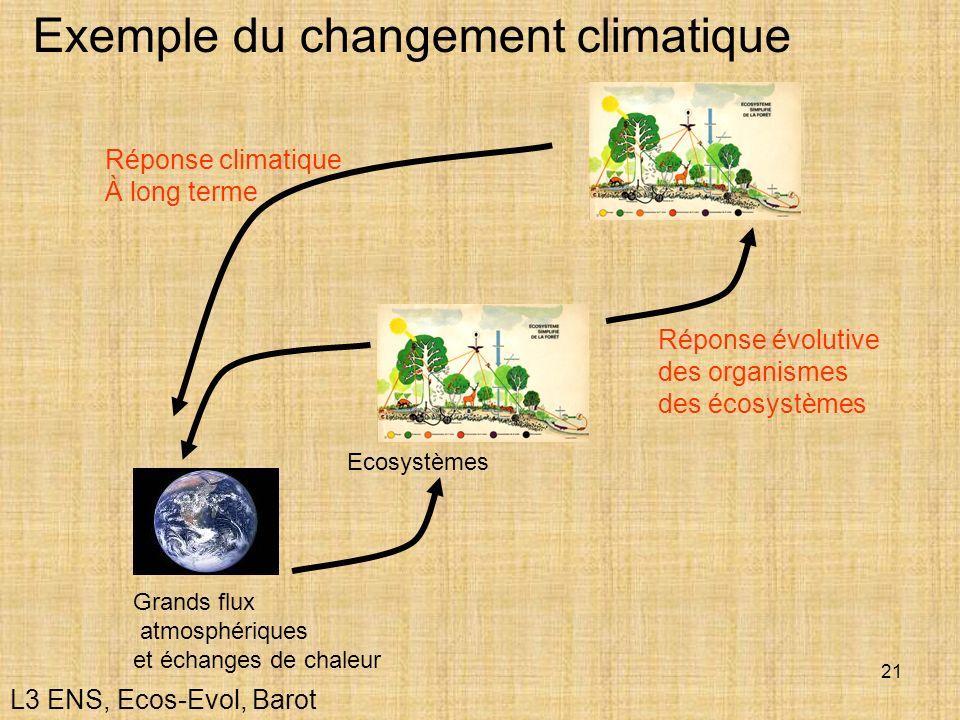 21 Exemple du changement climatique Grands flux atmosphériques et échanges de chaleur Ecosystèmes Réponse évolutive des organismes des écosystèmes Rép