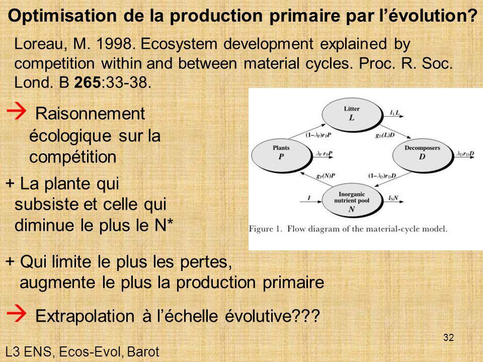 32 Raisonnement écologique sur la compétition + Qui limite le plus les pertes, augmente le plus la production primaire + La plante qui subsiste et cel