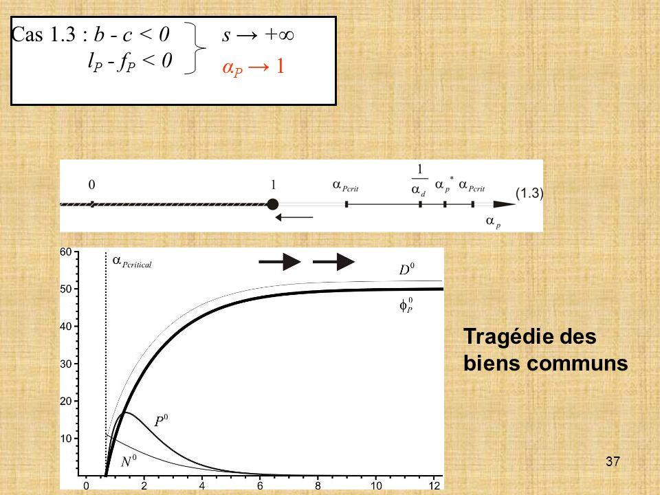 37 Cas 1.3 : b - c < 0 l P - f P < 0 s + α P 1 Tragédie des biens communs