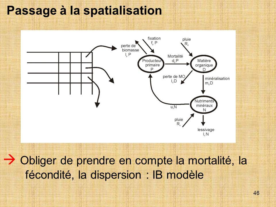 46 Passage à la spatialisation Obliger de prendre en compte la mortalité, la fécondité, la dispersion : IB modèle