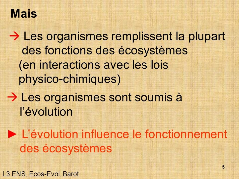 5 Les organismes remplissent la plupart des fonctions des écosystèmes (en interactions avec les lois physico-chimiques) Les organismes sont soumis à l