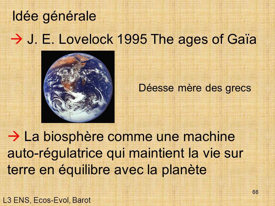 66 Idée générale J. E. Lovelock 1995 The ages of Gaïa La biosphère comme une machine auto-régulatrice qui maintient la vie sur terre en équilibre avec