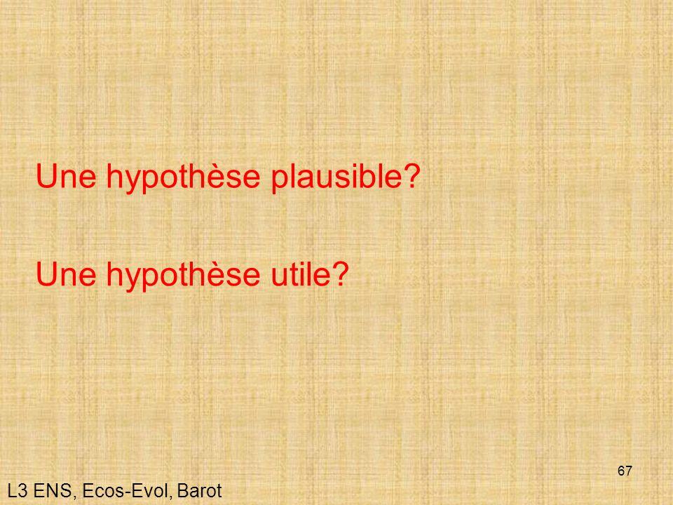 67 L3 ENS, Ecos-Evol, Barot Une hypothèse plausible? Une hypothèse utile?