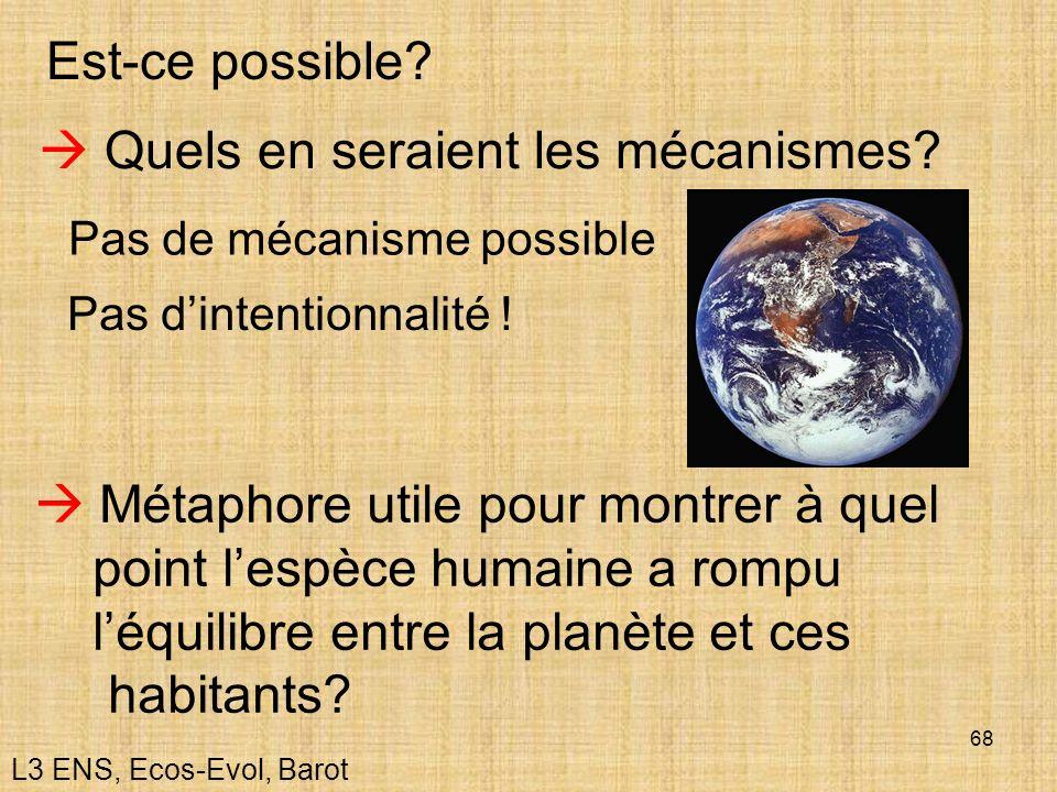 68 Est-ce possible? Quels en seraient les mécanismes? Métaphore utile pour montrer à quel point lespèce humaine a rompu léquilibre entre la planète et