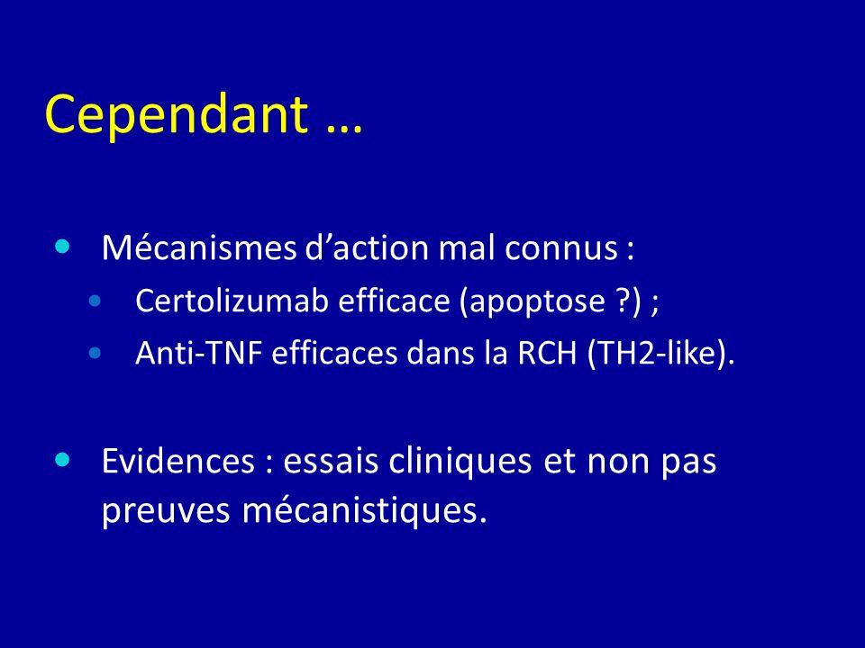 Mécanismes daction mal connus : Certolizumab efficace (apoptose ?) ; Anti-TNF efficaces dans la RCH (TH2-like). Evidences : essais cliniques et non pa