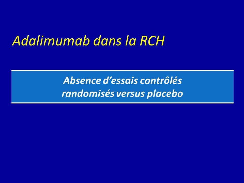 Adalimumab dans la RCH Absence dessais contrôlés randomisés versus placebo