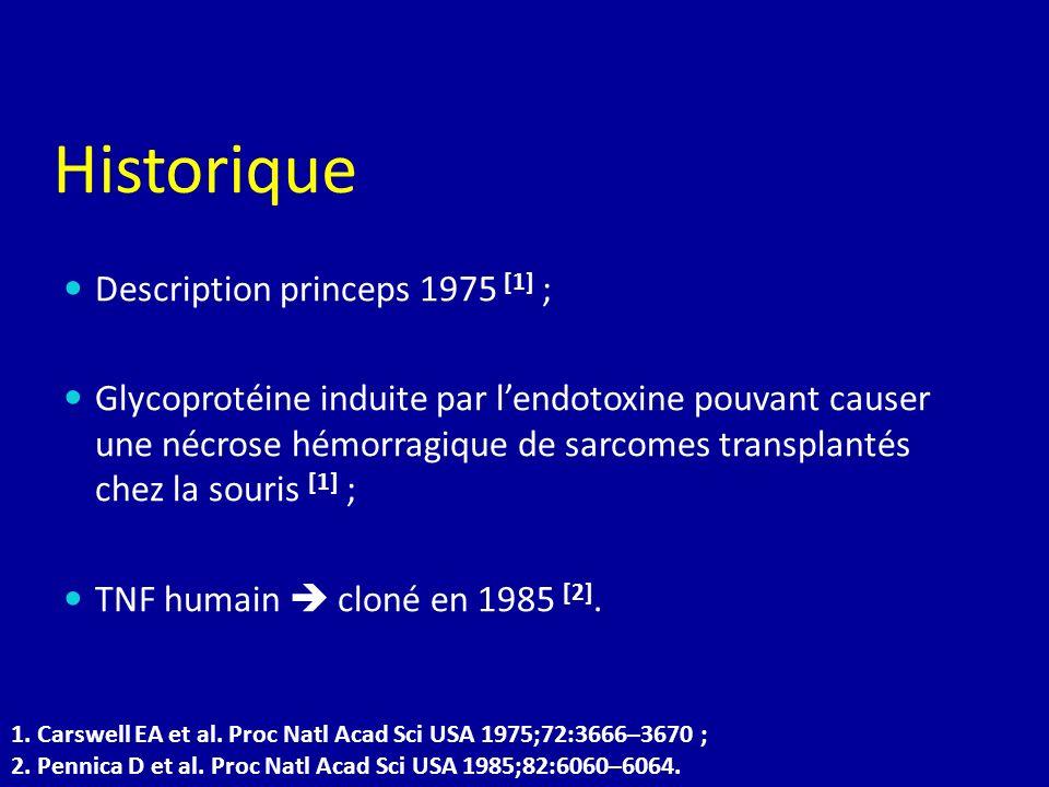 Historique Description princeps 1975 [1] ; Glycoprotéine induite par lendotoxine pouvant causer une nécrose hémorragique de sarcomes transplantés chez