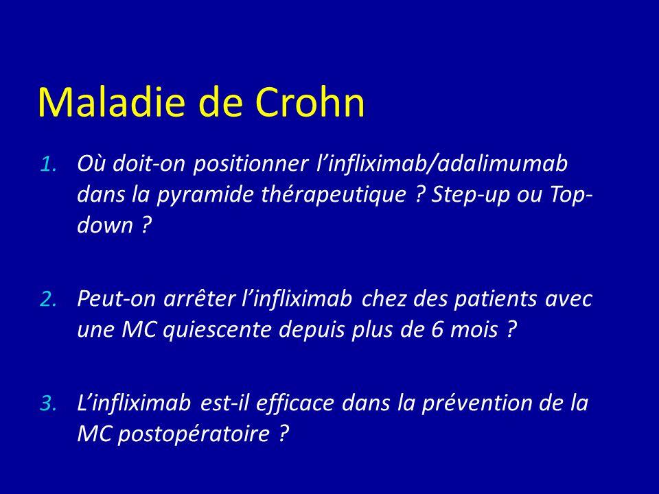 Maladie de Crohn 1. Où doit-on positionner linfliximab/adalimumab dans la pyramide thérapeutique ? Step-up ou Top- down ? 2. Peut-on arrêter linflixim