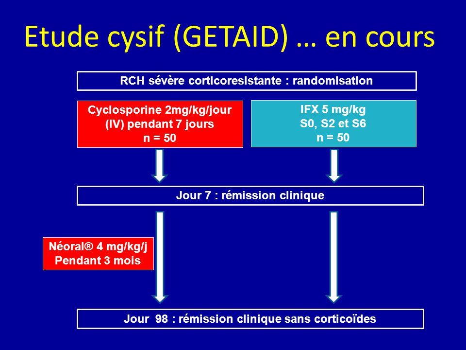 Etude cysif (GETAID) … en cours RCH sévère corticoresistante : randomisation Cyclosporine 2mg/kg/jour (IV) pendant 7 jours n = 50 IFX 5 mg/kg S0, S2 e