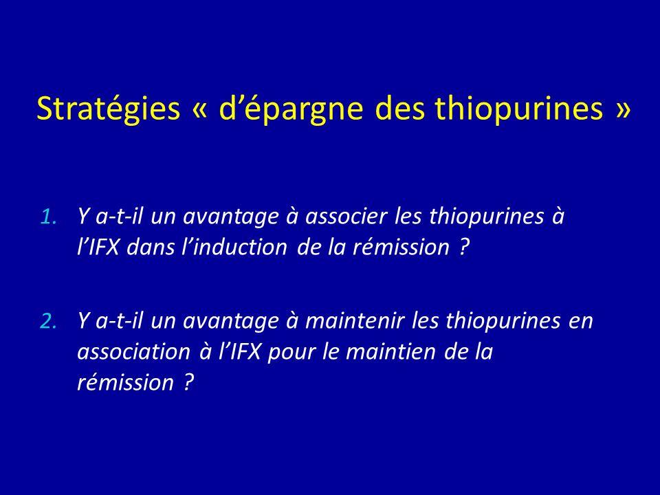Stratégies « dépargne des thiopurines » 1. Y a-t-il un avantage à associer les thiopurines à lIFX dans linduction de la rémission ? 2. Y a-t-il un ava