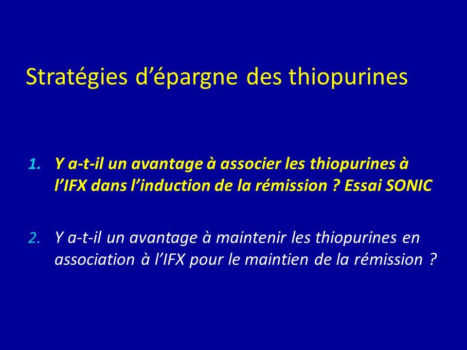 Stratégies dépargne des thiopurines 1. Y a-t-il un avantage à associer les thiopurines à lIFX dans linduction de la rémission ? Essai SONIC 2. Y a-t-i