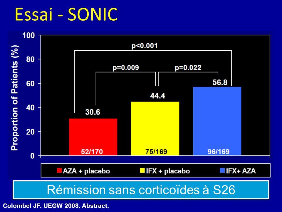 Rémission sans corticoïdes à S26 Colombel JF. UEGW 2008. Abstract. Essai - SONIC