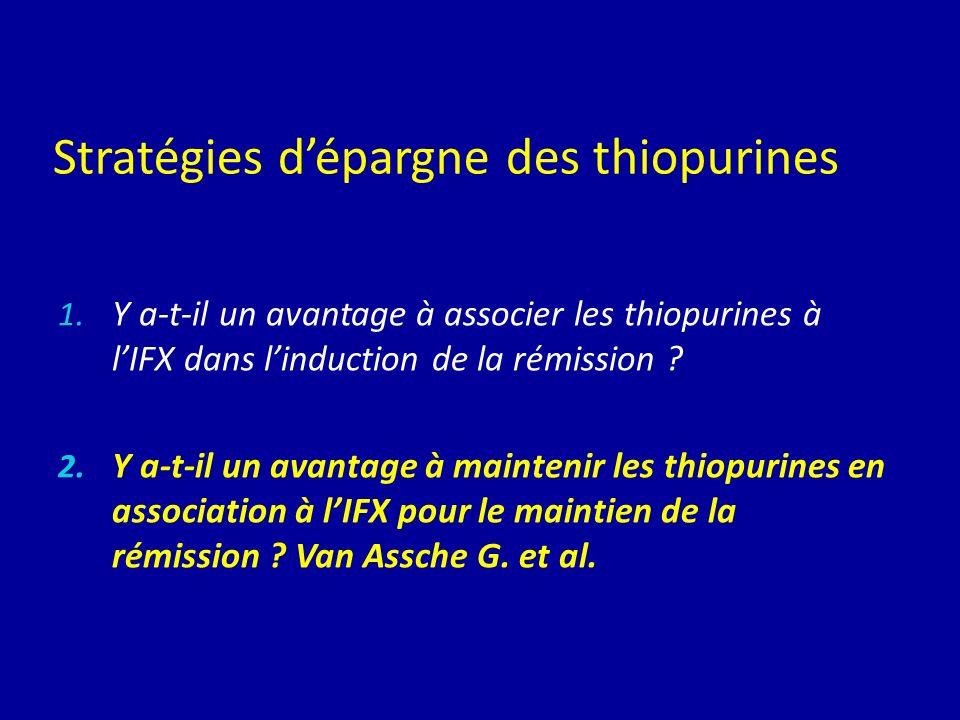 Stratégies dépargne des thiopurines 1. Y a-t-il un avantage à associer les thiopurines à lIFX dans linduction de la rémission ? 2. Y a-t-il un avantag