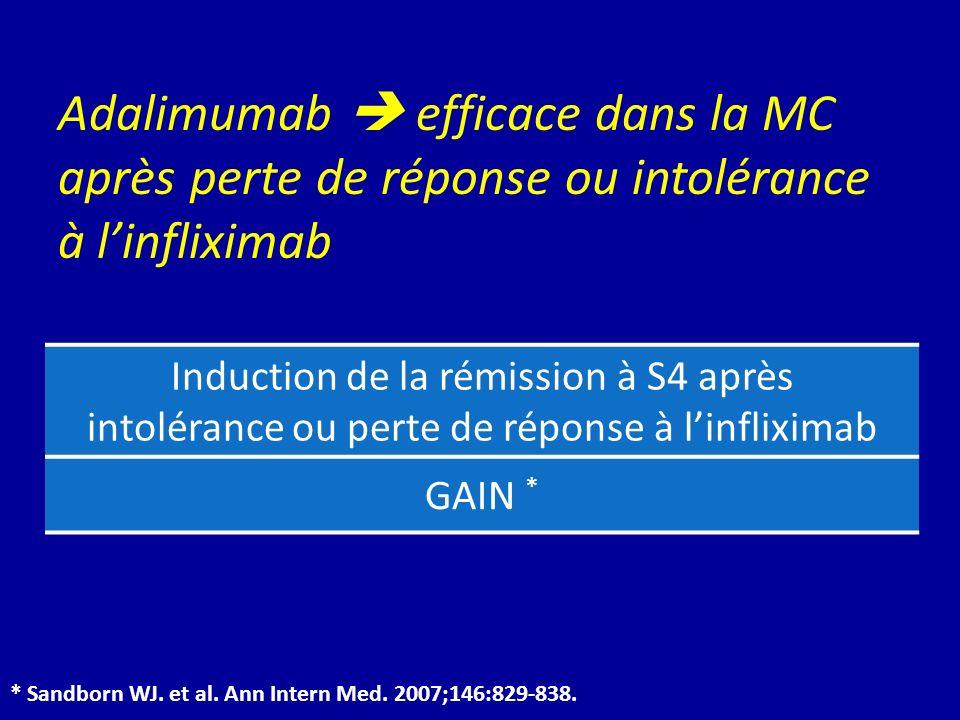 Induction de la rémission à S4 après intolérance ou perte de réponse à linfliximab GAIN * * Sandborn WJ. et al. Ann Intern Med. 2007;146:829-838. Adal