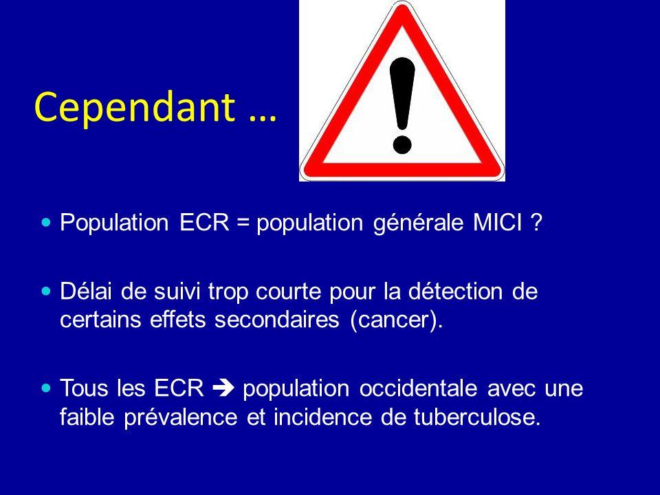 Cependant … Population ECR = population générale MICI ? Délai de suivi trop courte pour la détection de certains effets secondaires (cancer). Tous les