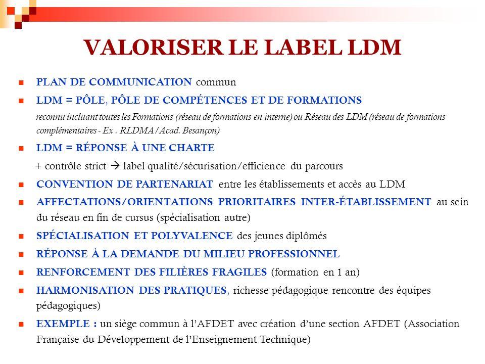 VALORISER LE LABEL LDM PLAN DE COMMUNICATION commun LDM = PÔLE, PÔLE DE COMPÉTENCES ET DE FORMATIONS reconnu incluant toutes les Formations (réseau de