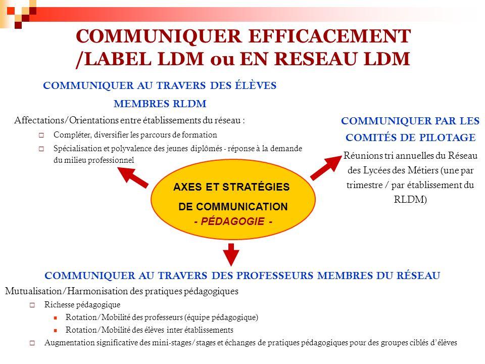 COMMUNIQUER EFFICACEMENT /LABEL LDM ou EN RESEAU LDM AXES ET STRATÉGIES DE COMMUNICATION - PÉDAGOGIE - COMMUNIQUER AU TRAVERS DES ÉLÈVES MEMBRES RLDM