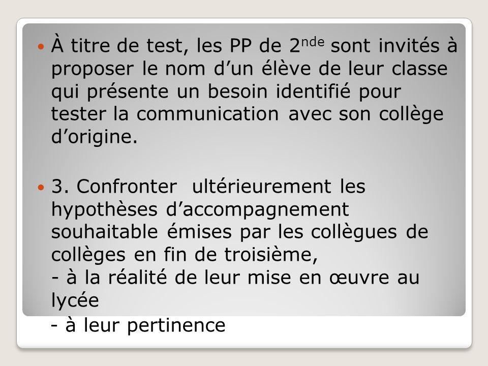 À titre de test, les PP de 2 nde sont invités à proposer le nom dun élève de leur classe qui présente un besoin identifié pour tester la communication avec son collège dorigine.