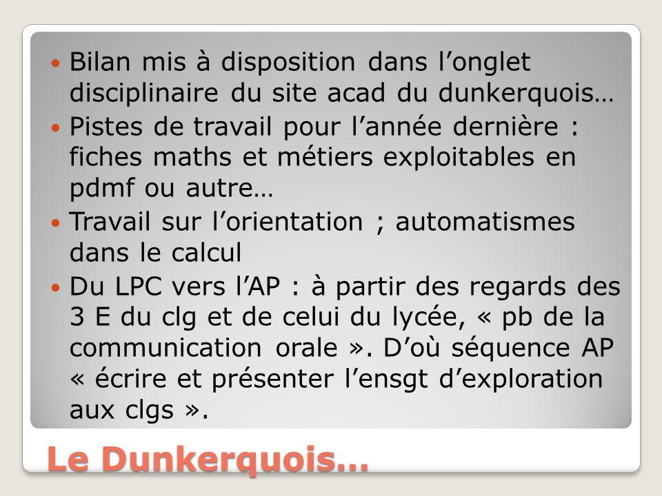 Le Dunkerquois… Bilan mis à disposition dans longlet disciplinaire du site acad du dunkerquois… Pistes de travail pour lannée dernière : fiches maths