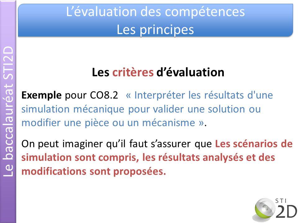 Le baccalauréat STI2D Lévaluation des compétences Les principes Lévaluation des compétences Les principes Les critères dévaluation Exemple pour CO8.2«