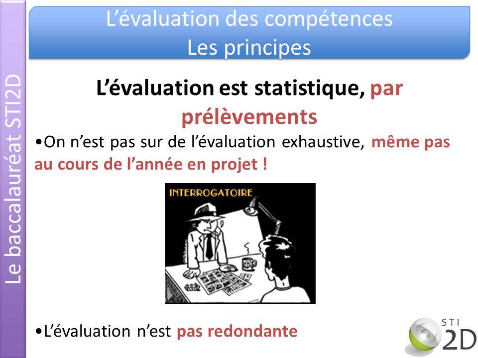 Le baccalauréat STI2D Lévaluation des compétences Les principes Lévaluation des compétences Les principes Lévaluation est statistique, par prélèvement