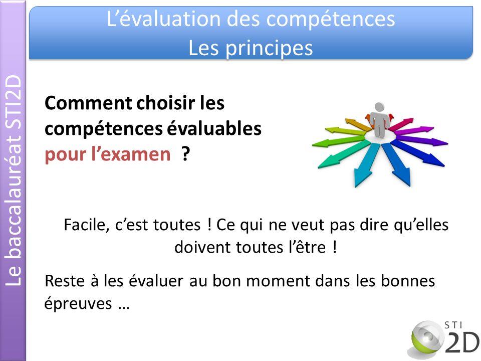 Le baccalauréat STI2D Lévaluation des compétences Les principes Lévaluation des compétences Les principes Comment choisir les compétences évaluables p