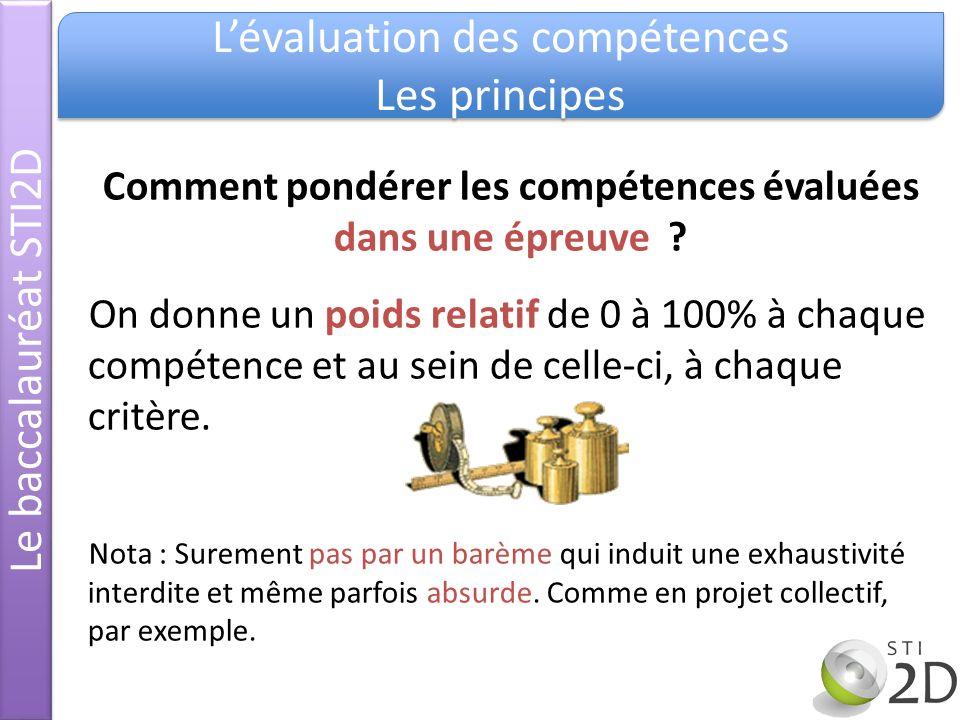 Le baccalauréat STI2D Lévaluation des compétences Les principes Lévaluation des compétences Les principes Comment pondérer les compétences évaluées da