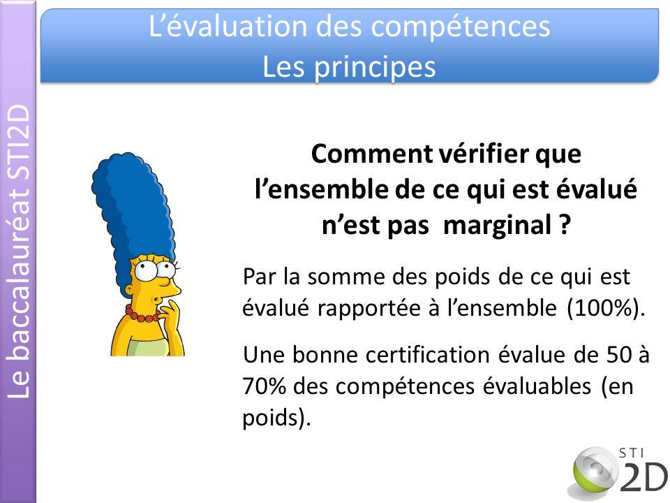 Le baccalauréat STI2D Lévaluation des compétences Les principes Lévaluation des compétences Les principes Comment vérifier que lensemble de ce qui est