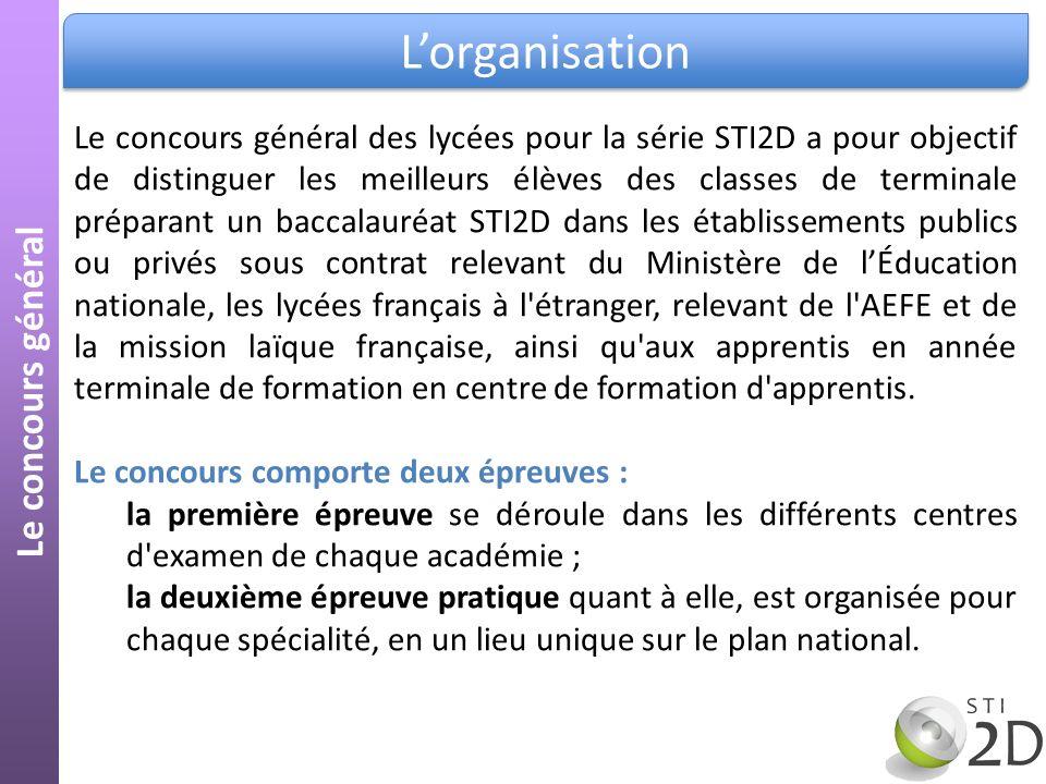 Lorganisation Le concours général Le concours général des lycées pour la série STI2D a pour objectif de distinguer les meilleurs élèves des classes de