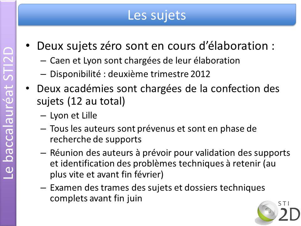 Deux sujets zéro sont en cours délaboration : – Caen et Lyon sont chargées de leur élaboration – Disponibilité : deuxième trimestre 2012 Deux académie