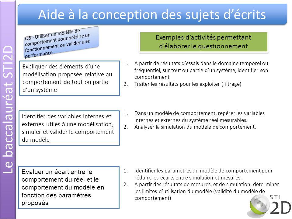 Le baccalauréat STI2D Aide à la conception des sujets décrits Expliquer des éléments dune modélisation proposée relative au comportement de tout ou pa
