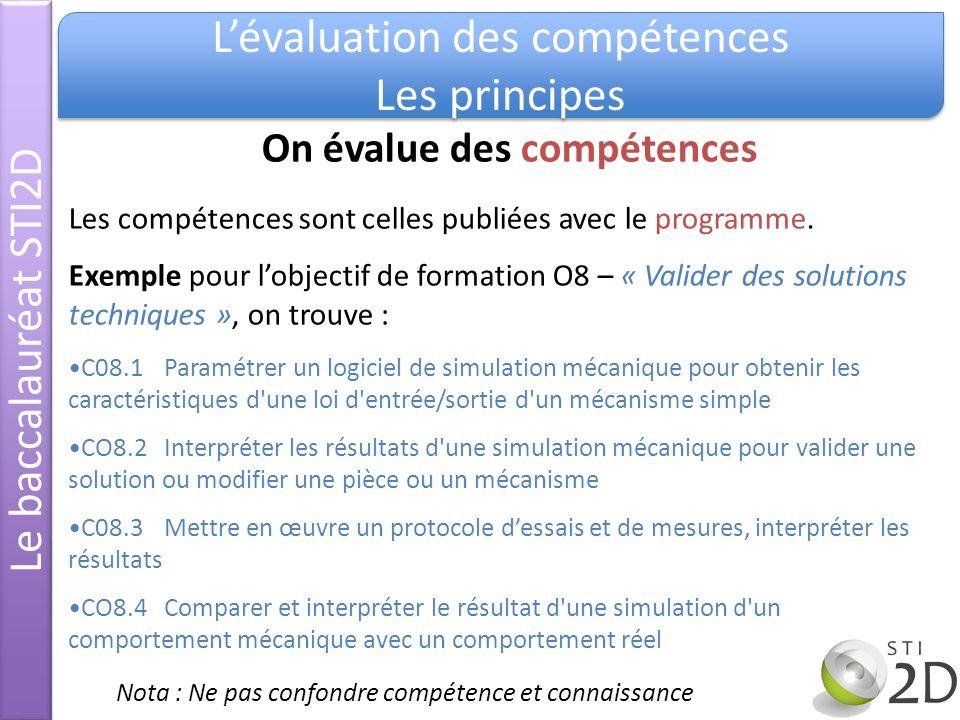 Le baccalauréat STI2D Lévaluation des compétences Les principes Lévaluation des compétences Les principes Les critères dévaluation Exemple pour CO8.2« Interpréter les résultats d une simulation mécanique pour valider une solution ou modifier une pièce ou un mécanisme ».