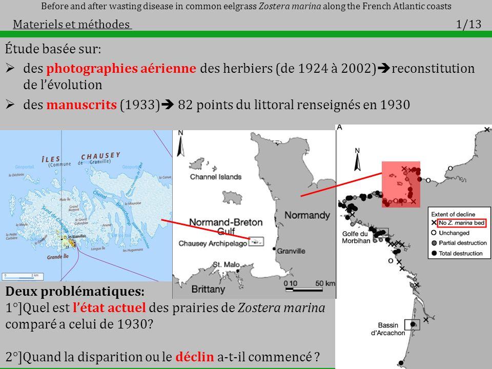 Étude basée sur: des photographies aérienne des herbiers (de 1924 à 2002) reconstitution de lévolution des manuscrits (1933) 82 points du littoral ren