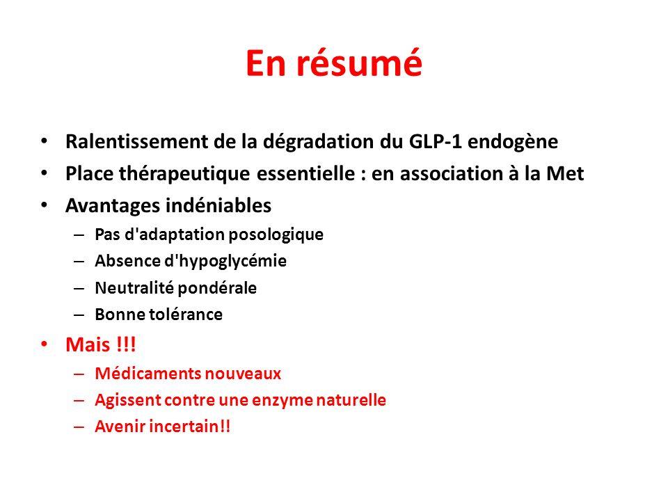 En résumé Ralentissement de la dégradation du GLP-1 endogène Place thérapeutique essentielle : en association à la Met Avantages indéniables – Pas d'a