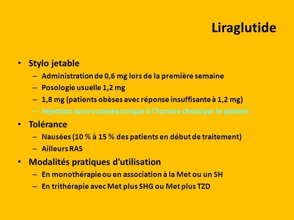 Liraglutide Stylo jetable – Administration de 0,6 mg lors de la première semaine – Posologie usuelle 1,2 mg – 1,8 mg (patients obèses avec réponse ins