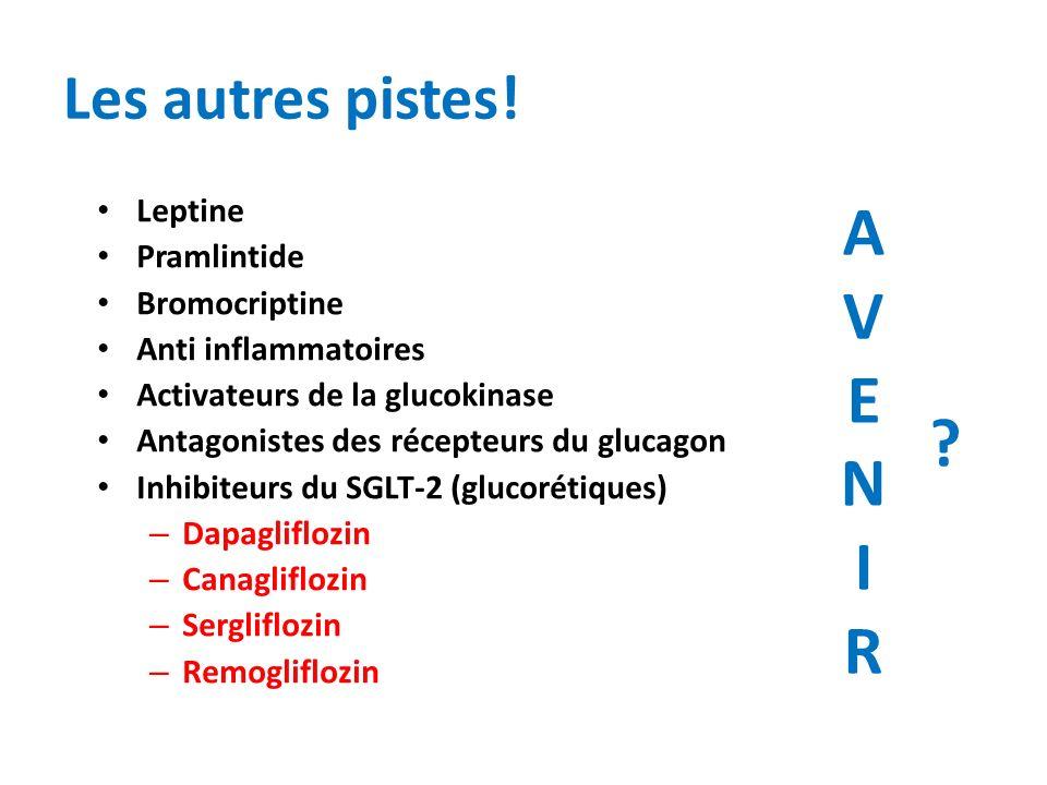 Les autres pistes! Leptine Pramlintide Bromocriptine Anti inflammatoires Activateurs de la glucokinase Antagonistes des récepteurs du glucagon Inhibit