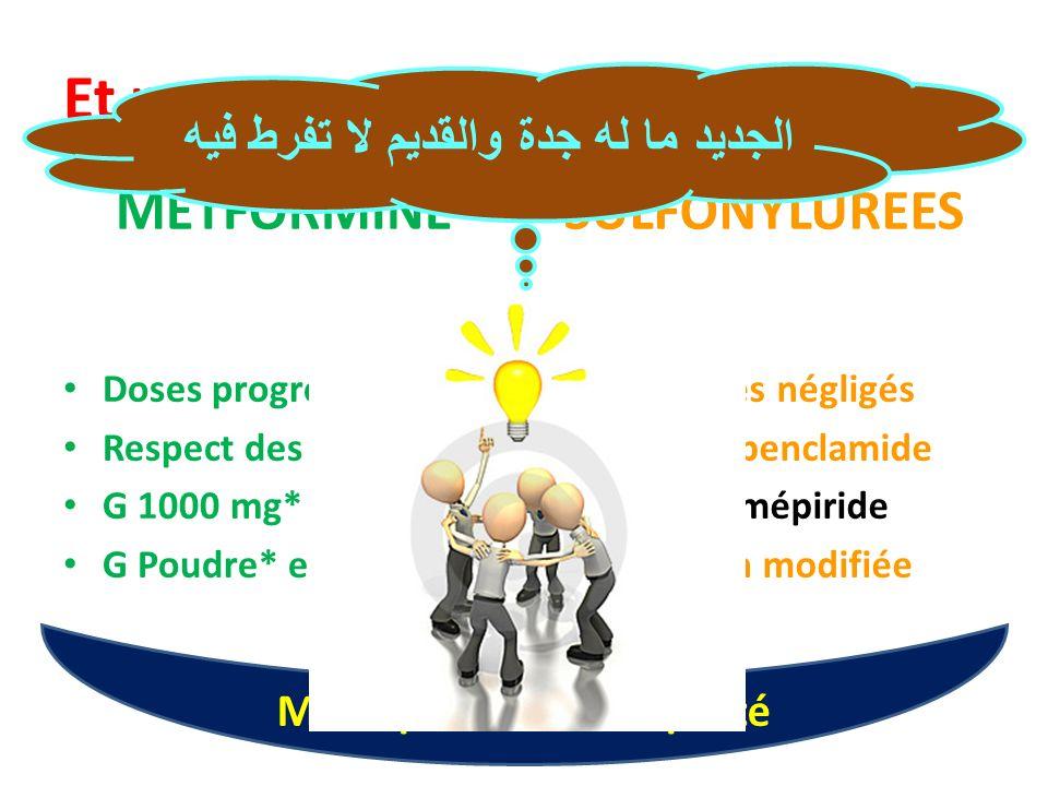 Et pour terminer en beauté METFORMINE Doses progressives Respect des CI G 1000 mg* G Poudre* et G XR* SULFONYLUREES Sulfamides négligés Met + Glibencl