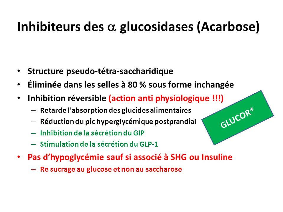 Inhibiteurs des glucosidases (Acarbose) Structure pseudo-tétra-saccharidique Éliminée dans les selles à 80 % sous forme inchangée Inhibition réversibl