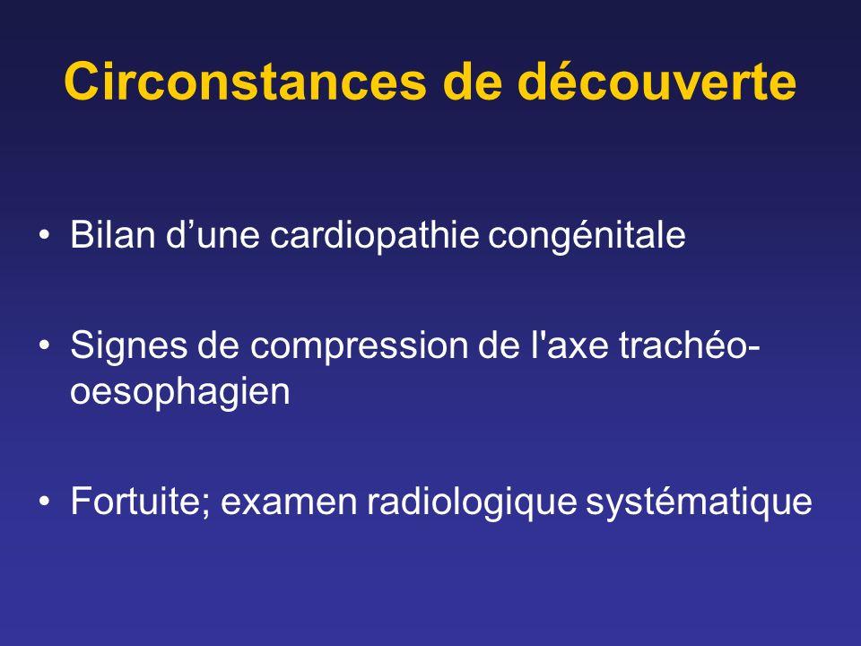 Circonstances de découverte Bilan dune cardiopathie congénitale Signes de compression de l axe trachéo- oesophagien Fortuite; examen radiologique systématique