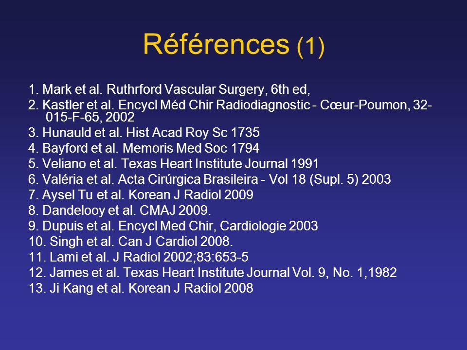 Références (1) 1.Mark et al. Ruthrford Vascular Surgery, 6th ed, 2.