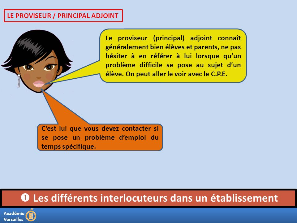 Académie Versailles Les différents interlocuteurs dans un établissement Le proviseur (principal) adjoint connaît généralement bien élèves et parents,