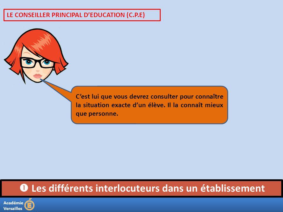 Académie Versailles Les différents interlocuteurs dans un établissement Cest lui que vous devrez consulter pour connaître la situation exacte dun élèv