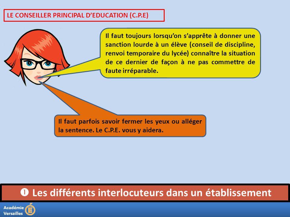 Académie Versailles Les différents interlocuteurs dans un établissement Il faut toujours lorsquon sapprête à donner une sanction lourde à un élève (co